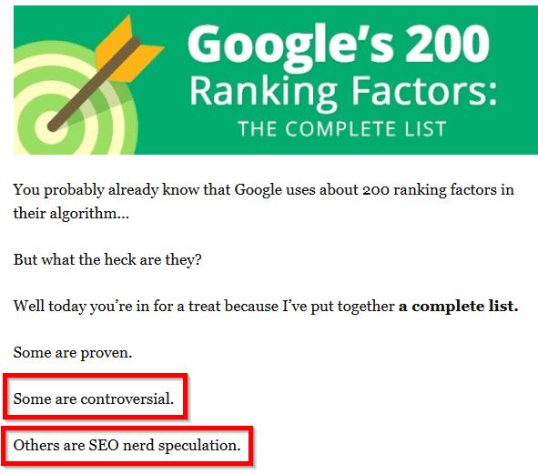 các yếu tố xếp hạng không hoàn toàn chắc chắn