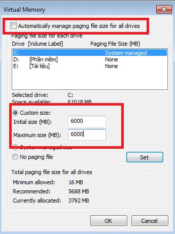 Size Ram - tăng dung lượng bộ nhớ ảo