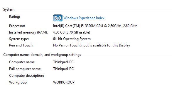 Điểm chung của hệ thống với windows 7