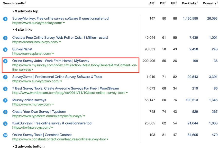 tìm kiếm từ khóa online survey