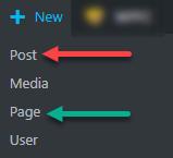 vị trí tạo mới post và page