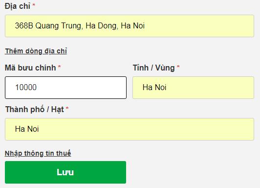 thông tin địa chỉ khi đăng ký tên miền