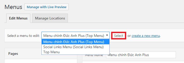 chọn menu để chỉnh sửa