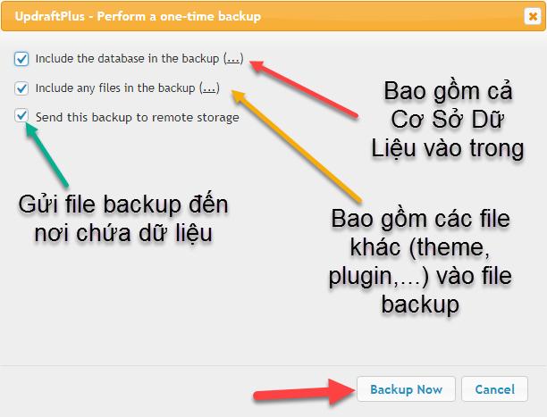 Tùy chỉnh backup website