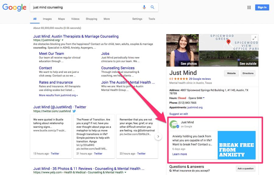 Biểu đồ Tri thức hiển thị Google Posts từ Just Mind Counseling trong SERPs
