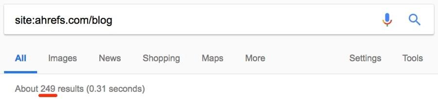 tìm kiếm số lượng bài đăng blog