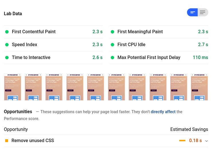 điểm Google Speed Insights trên di động