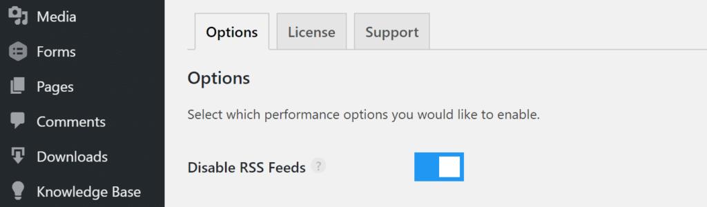 Vô hiệu hóa RSS Feeds