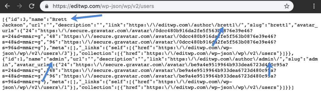 Danh sách user của WP-JSON